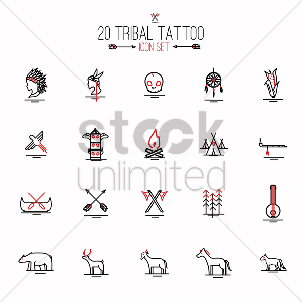 tribal tattoo set vector graphic