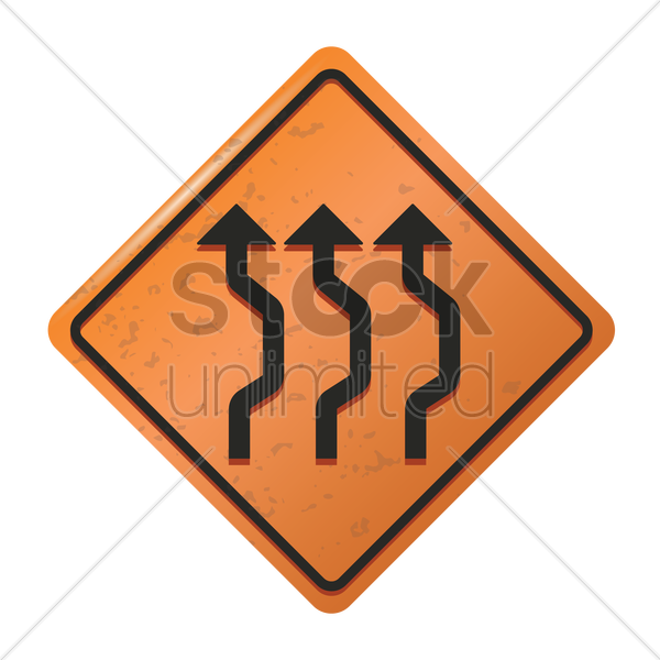 triple reverse curve sign vector graphic