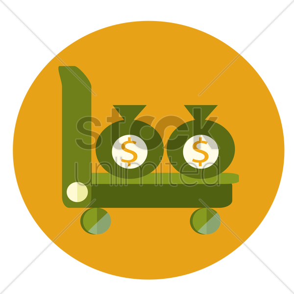 trolley with money bags vector graphic