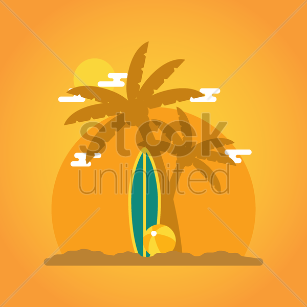 tropical beach wallpaper vector graphic
