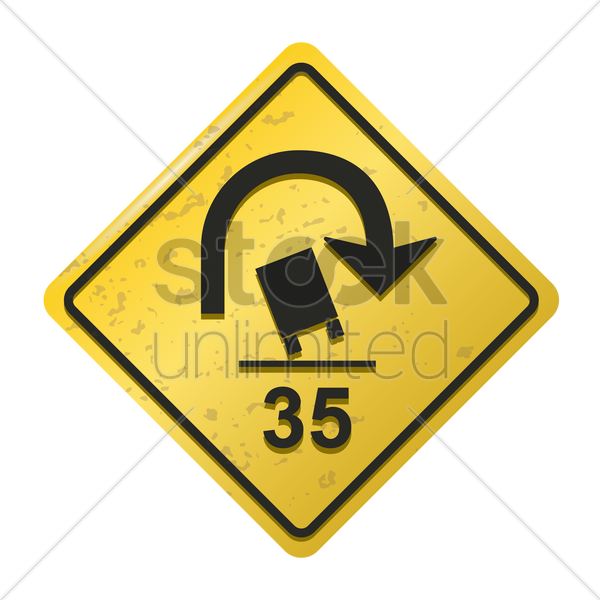 truck rollover warning for sharp curves sign vector graphic