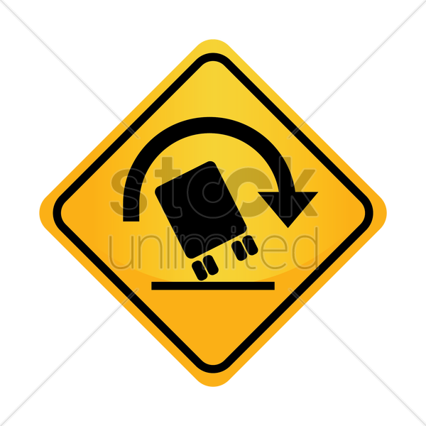 Free truck rollover warning sign vector graphic