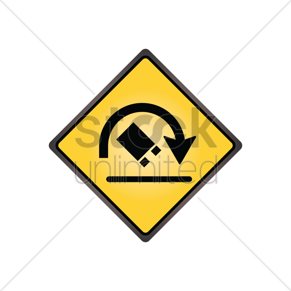 truck rollover warning sign vector graphic
