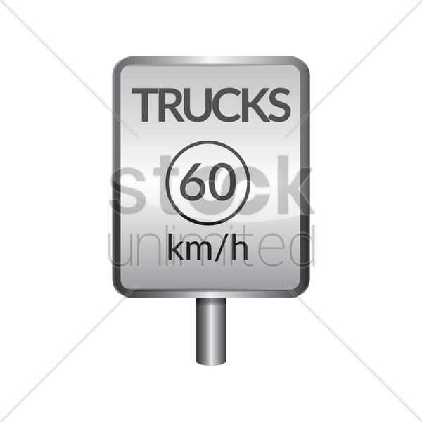 trucks speed limit 60 signboard vector graphic