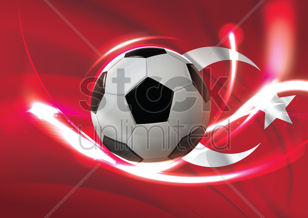 turkey flag with soccer ball vector graphic