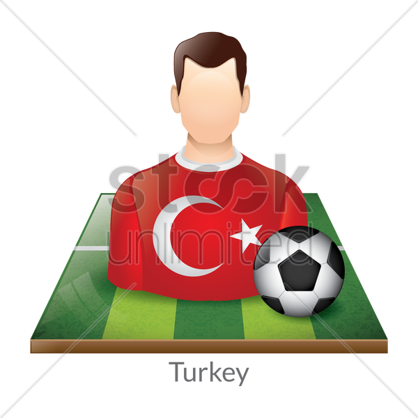 turkey player with soccer ball on field vector graphic