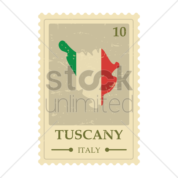 tuscany map postage stamp vector graphic