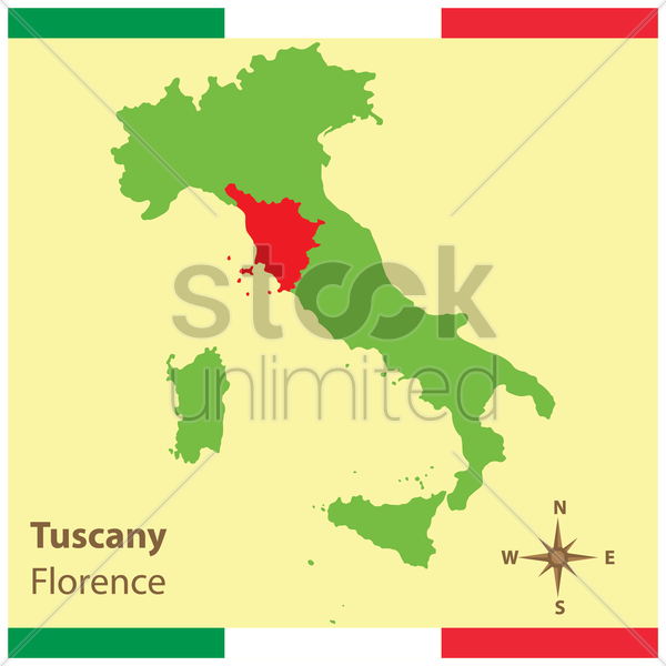 tuscany on italy map vector graphic