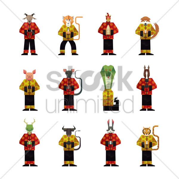 twelve chinese zodiac in chinese traditional clothes vector graphic