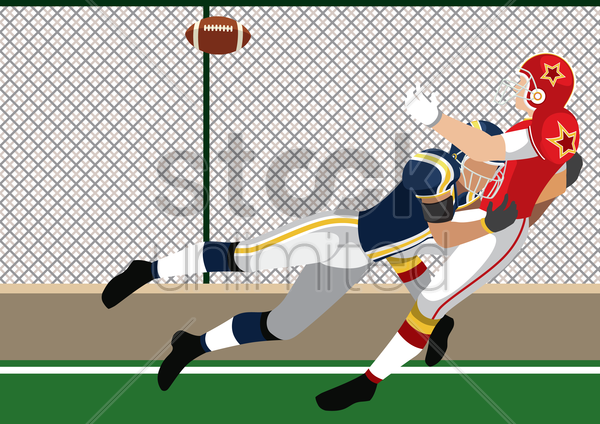 two american football players fighting for a ball vector graphic