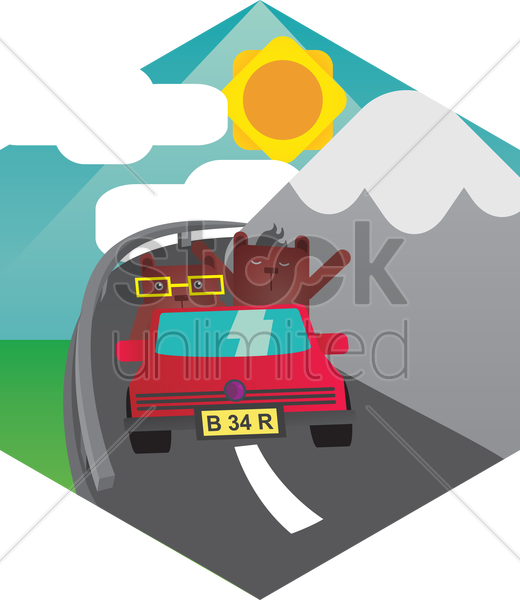 two bears in a car vector graphic