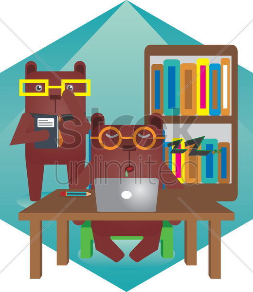 Free two bears in a library vector graphic