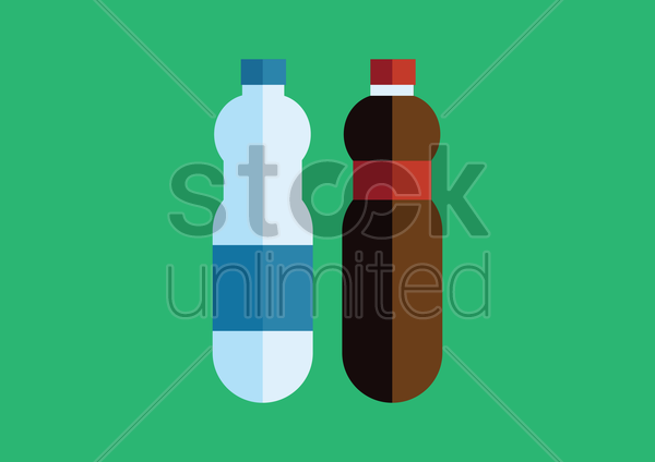 Free two bottles with label vector graphic