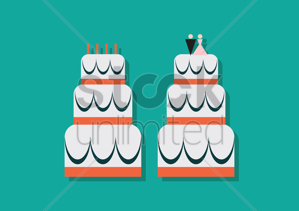 two cakes on blue background vector graphic