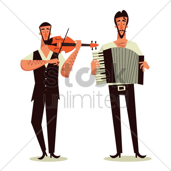 two men playing violin and accordion vector graphic