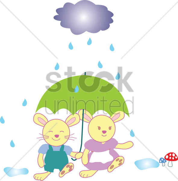 Free two rabbits under an umbrella on a rainy day vector graphic