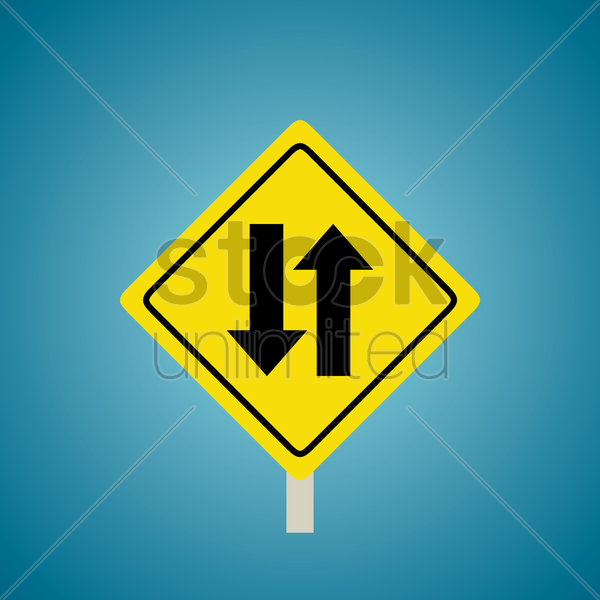 two-way traffic sign vector graphic