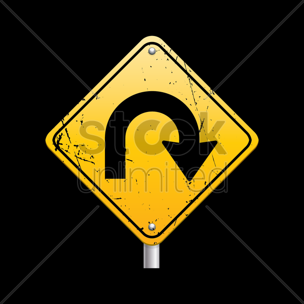 u turn road sign vector graphic