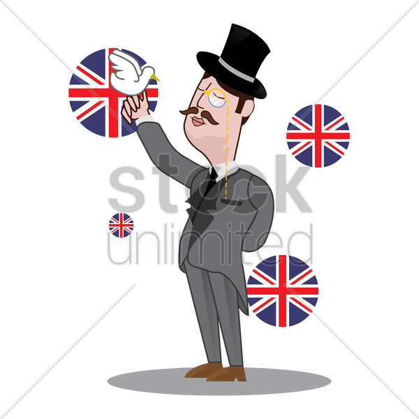 uk detective holding bird vector graphic