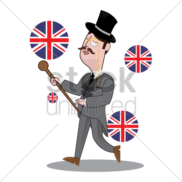 uk detective holding stick vector graphic