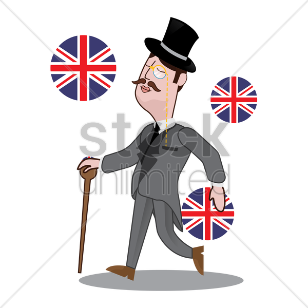 uk detective running vector graphic