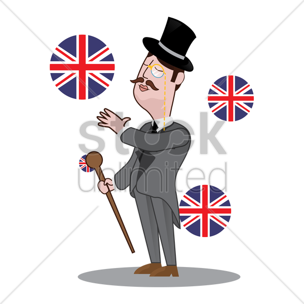 uk detective with hand gesture vector graphic