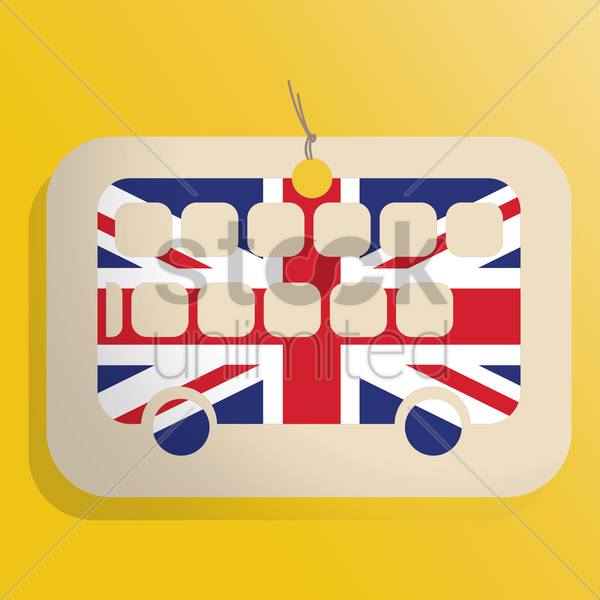 uk double-decker label vector graphic