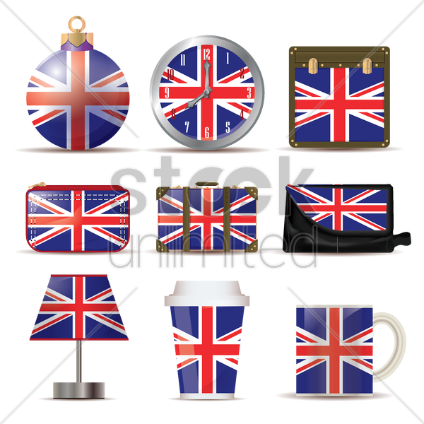 uk flag icon set vector graphic