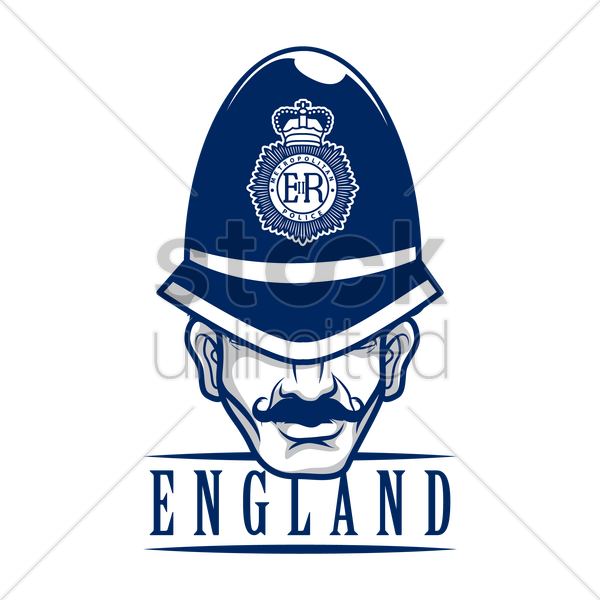 uk policeman label vector graphic