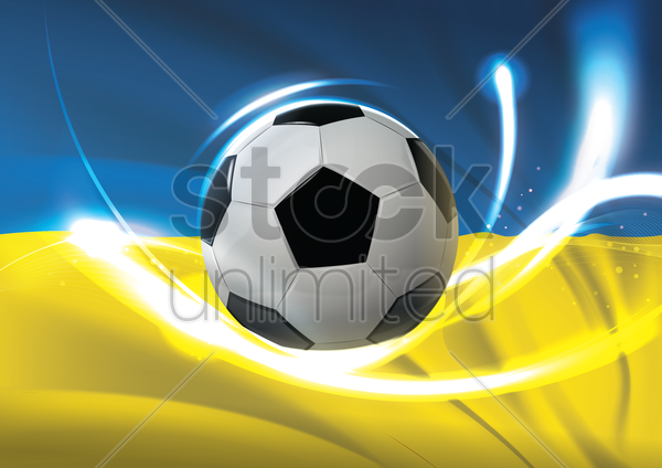 ukraine flag with soccer ball vector graphic