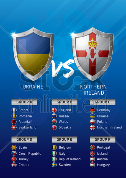 ukraine vs northern ireland vector graphic