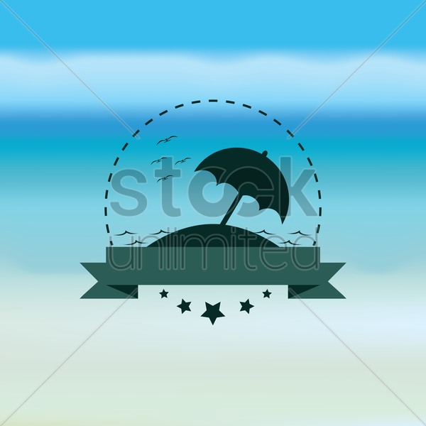 umbrella with banner vector graphic