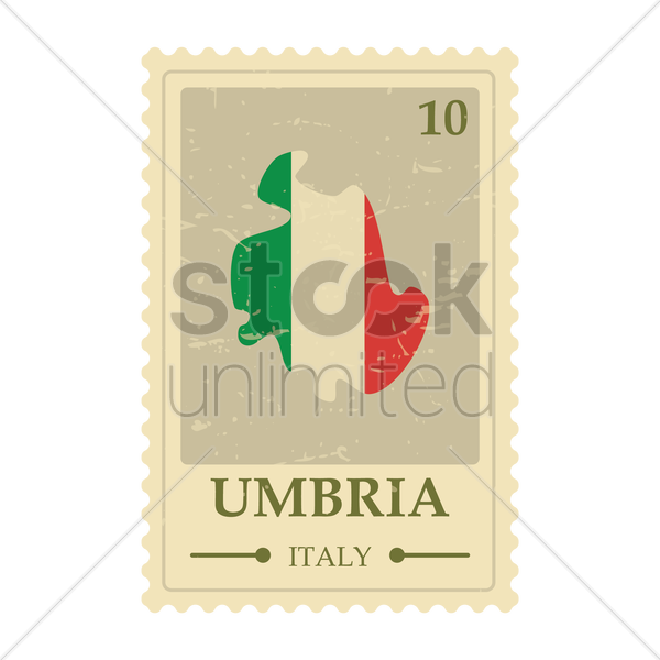 umbria map postage stamp vector graphic