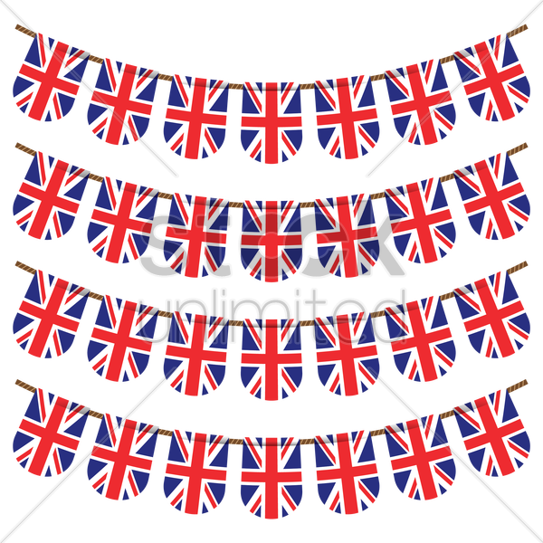 united kingdom flag buntings vector graphic