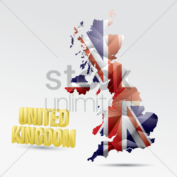 united kingdom flag map vector graphic