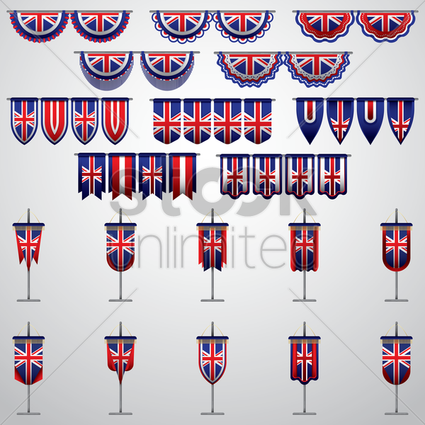 united kingdom flag pennants and buntings vector graphic