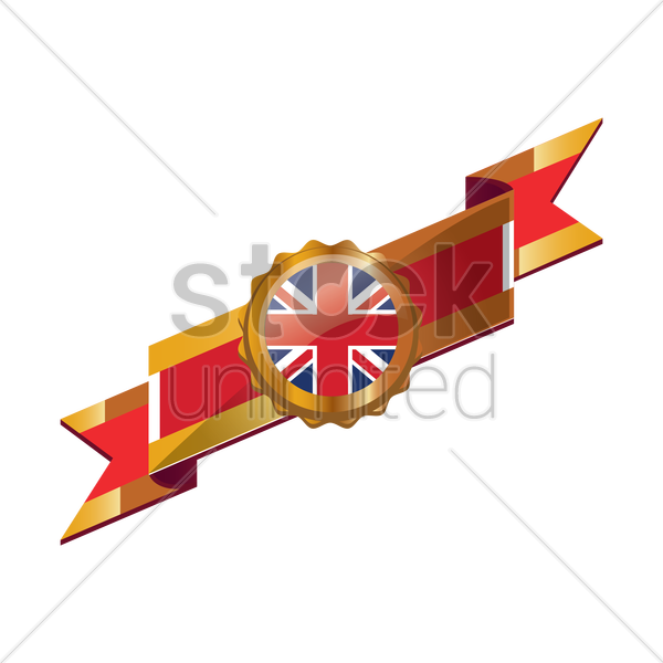 united kingdom flag ribbon vector graphic