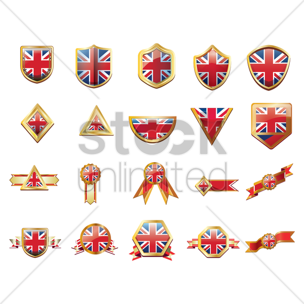 united kingdom flag ribbons and buttons vector graphic