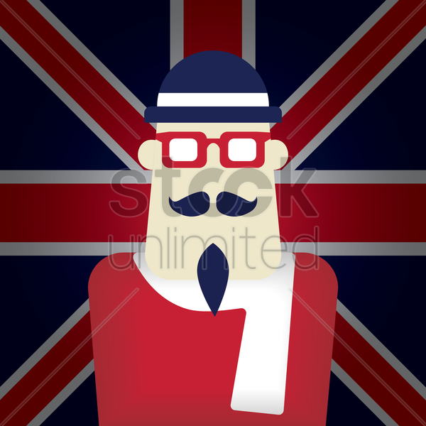 united kingdom flag with a gentleman vector graphic