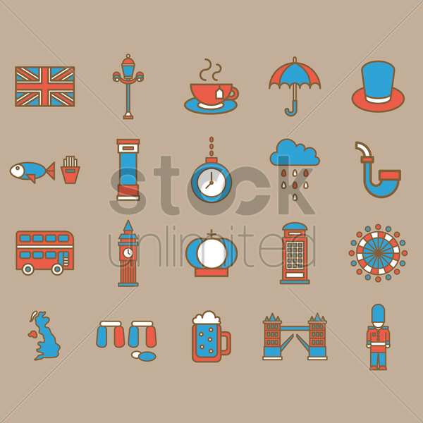 united kingdom general icons vector graphic