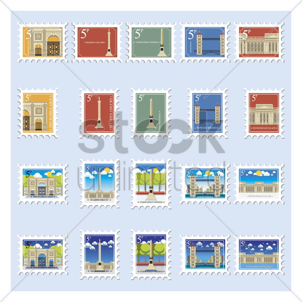 united kingdom historical postage stamp collection vector graphic