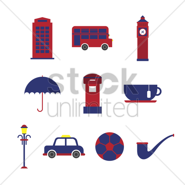 united kingdom icons set vector graphic