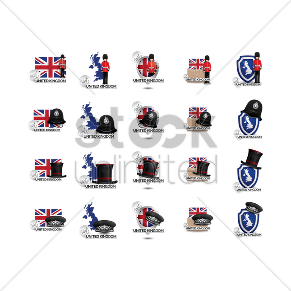 united kingdom icons vector graphic