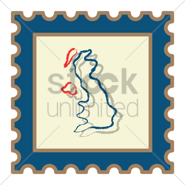 united kingdom map postage stamp vector graphic
