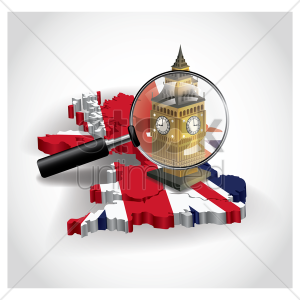 united kingdom map with big ben vector graphic
