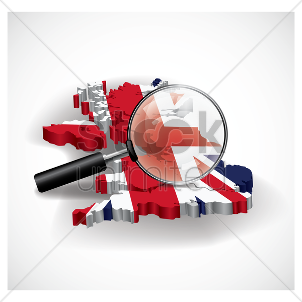 united kingdom map with magnifier vector graphic