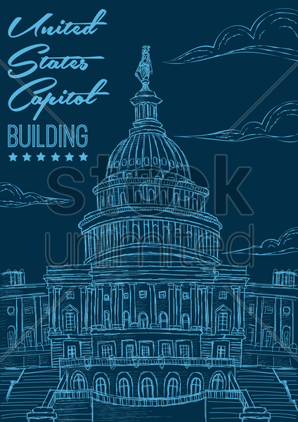united states capitol building poster vector graphic