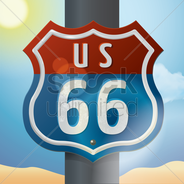 us 66 route sign vector graphic