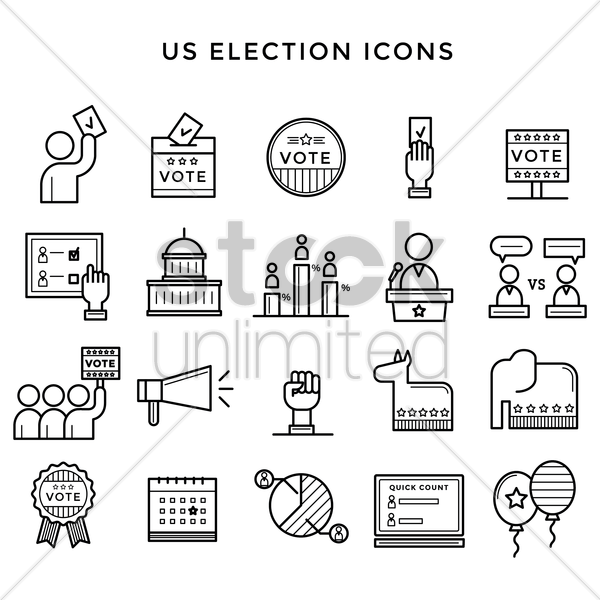 us election icons vector graphic