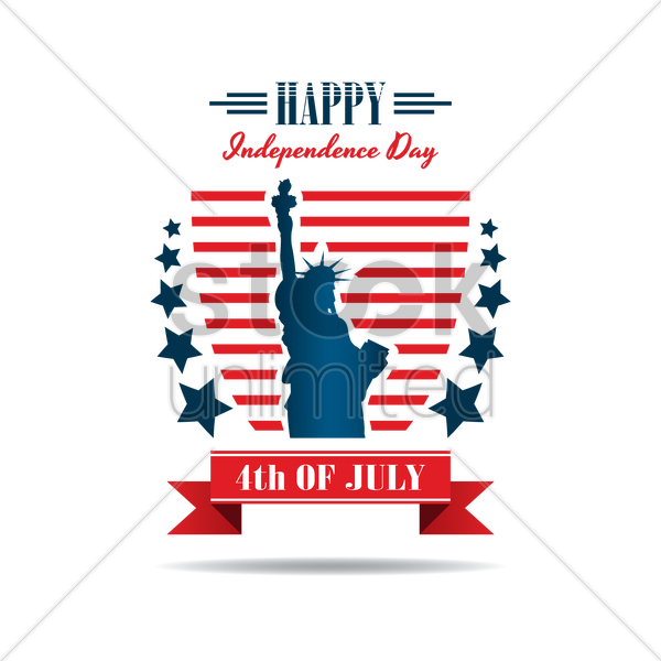 us independence day label vector graphic